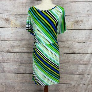 NEW L8ter Blue and Green Stripped Dress.